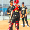 Cameron, Iseri clicking on all friendly cylinders for Lady Dons softball