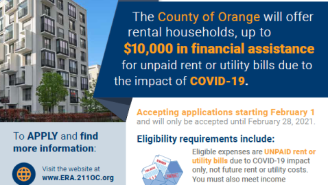 Orange County Rental Assistance, Deadline Feb. 28, 2021