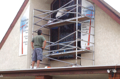 Workers at mt olive for Biola jesus mural