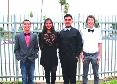 La Mirada High students from left, Sean Parra, Cristina Navarrette, Jacob Rosales, and  Bobby Stauffer will march in the Pasadena City College Tournament of Roses Honor Band on New Year's Day.