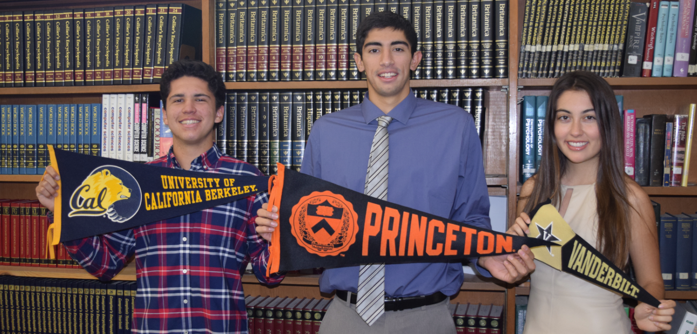 La Mirada High Class of 2016 graduates Dante Gonzales, Vittorio Reynoso-Avila and Meghan Miller proudly display the pennants of the prestigious universities they will attend in the fall.