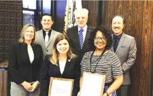 The La Mirada City Council honored Principal Robin Padget of Dulles ES and Principal Yvette Cantu of Eastwood ES for their schools being recognized as 2016 California Gold Ribbon schools.