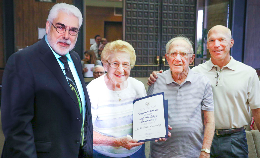 Mayor De Ruse joins La Mirada residents Joe and Millie Emmerling and their son Jim, also of La Mirada. The Emmerlings were recognized by the City Council for their 70th wedding anniversary at the August 23 City Council Meeting.