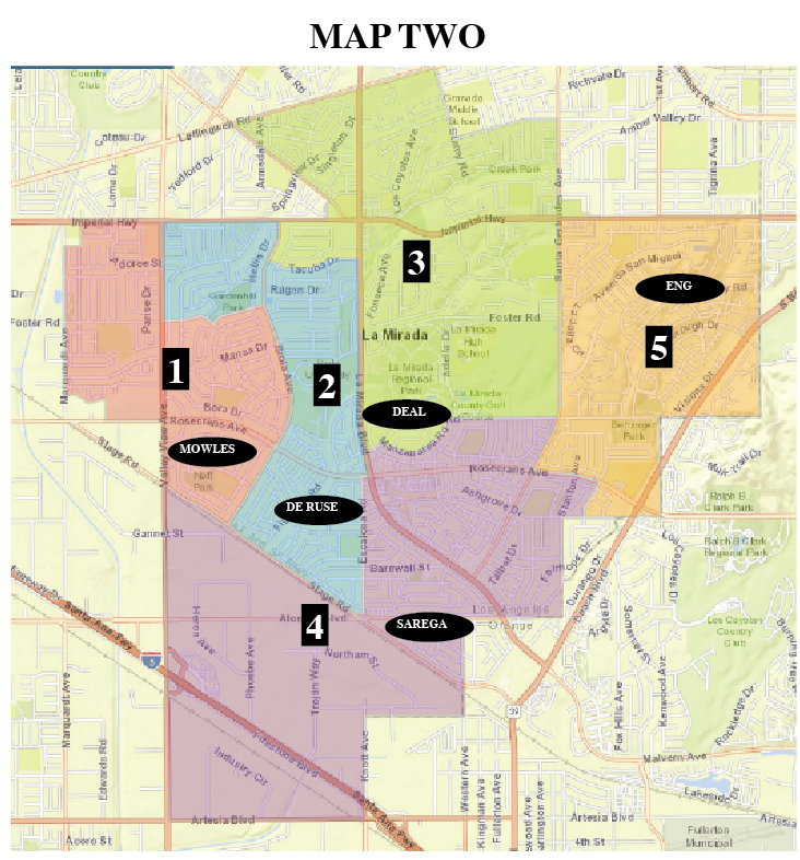 Map 2 placed the current council in 5 separate districts the remaining three placed 2 councilmembers in the same district leaving one other district open.