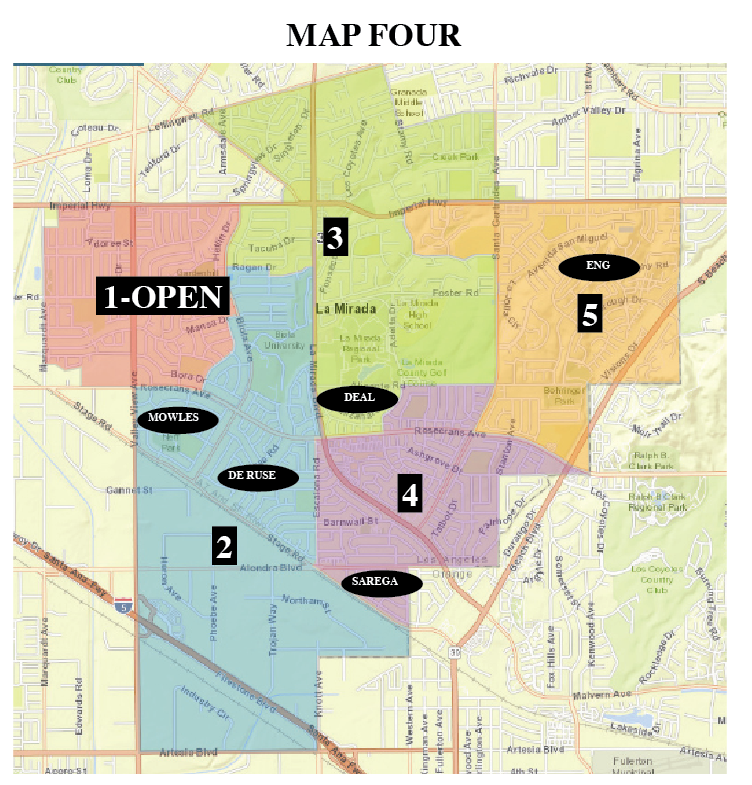 Map 4 placed Mayor De Ruse and Mowles in District 2, leaving District 1 open for a resident to run for a Council seat.