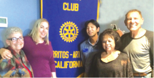 """Thanking life-long Artesia resident Veronica Bloomfield for her presentation, """"Artesia, Then & Now"""" were (l-r) Rotary member Sharun Carlson, Bloomfield, President Sug Kitahara, and members Becky Lingad and Artesia Councilman Tony Lima."""