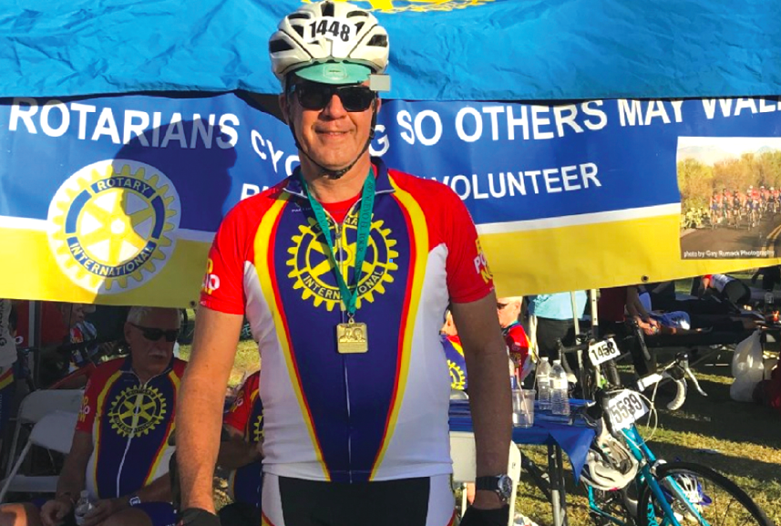 ROTARIAN RIDES SO OTHERS MAY WALK -- La Mirada Rotarian Paul Milward completed a 106 mile ride against polio in Tuscon, Arizona on November 18.  Milward, whose father suffered from the effects of polio, raised thousands of dollars to fight the disease.